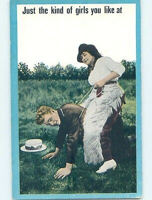 Pre-Linen western COWGIRL WEARING CHAPS RIDING MAN LIKE A HORSE HL4675