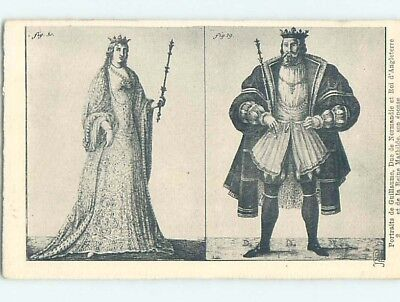 Pre-Linen foreign KING AND QUEEN - NORMANDIE - NORMANDY FRANCE HL9754