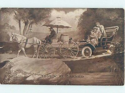 Pre-Linen SLOW HORSE-DRAWN WAGON IS HOLDING UP AUTOMOBILE CAR HL6383