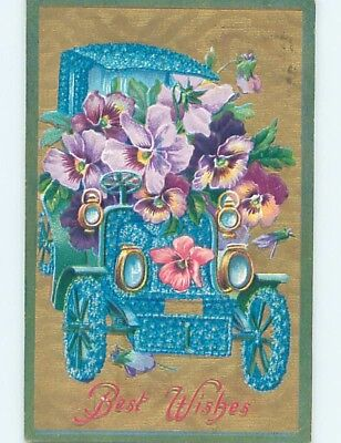 Pre-Linen fantasy VERY EARLY AUTOMOBILE CAR MADE OF FORGET-ME-NOT FLOWERS HL5886