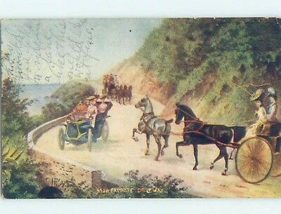 Pre-Linen VERY EARLY AUTOMOBILE CAR MEETS HORSE AND CARRIAGE HL6345