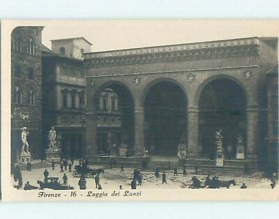 old rppc HORSE & CARRIAGE AT BUILDING Florence - Firenze - Tuscany Italy HM1961