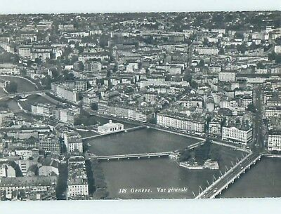 old rppc AERIAL VIEW OF TOWN Geneva - Geneve Switzerland HM1573