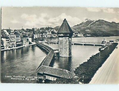 old rppc BUILDINGS ALONG THE WATER Lucerne - Luzern Switzerland HM1759