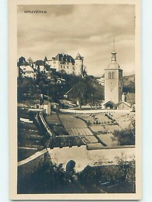 old rppc FARMS BY TOWER Gruyeres - Greyerz - Gruyere Fribourg Switzerland HM1372