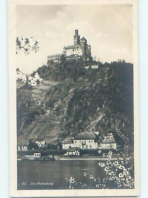 old rppc CASTLE ON THE HILL Braubach Germany HM1453