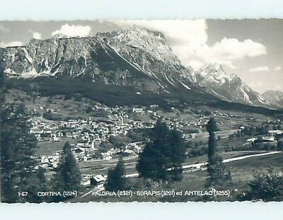 old rppc AERIAL VIEW OF TOWN Cortina D'Ampezzo Italy HM1629