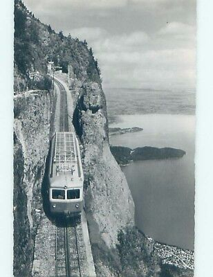 old rppc TRAIN ON HILL Lake Zug Near Arth And Cham-Zug Bay Switzerland HM1474