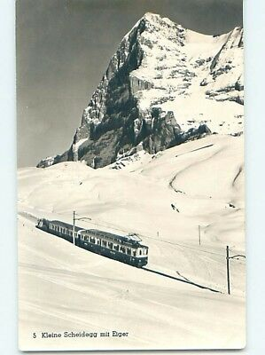 old rppc TRAIN ON SNOWY MOUNTAIN Kleine Scheidegg Grindelwald Switzerland HM1409
