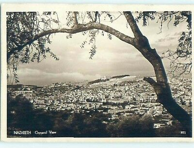 old rppc AERIAL VIEW OF TOWN Nazareth Israel HM1687
