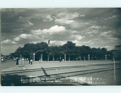 old rppc OLD CAR BY PEOPLE ON STREET Ciudad Juarez Mexico HM1633