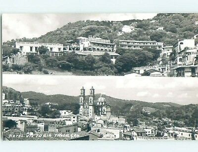 old rppc TWO PANORAMIC VIEWS ON ONE POSTCARD Taxco - Guerrero Mexico HM2180