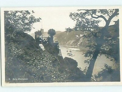 old rppc CASTLE BY THE RIVER Trechtingshausen - Trechtlingshausen Germany HM1785