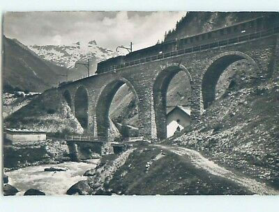 old rppc TRAIN ON BRIDGE Lotschental - Rhone Valley - Valais Switzerland HM2189