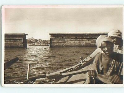old rppc BOAT AT ISIS TEMPLE Aswan - Assouan Egypt HM1755