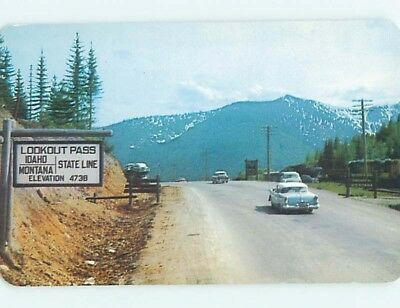 Unused 1950's OLD CARS AT LOOKOUT PASS Mullan & Wallace Idaho ID hn2771