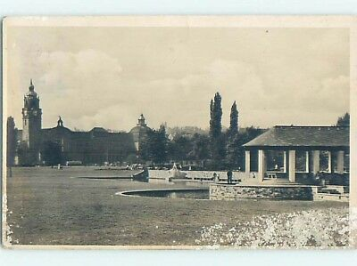 Damaged - old rppc COVERED PAVILION AREA Wiesbaden - Hesse Germany HM2074