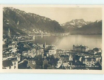 old rppc BUILDINGS BY THE WATER Montreux - Lake Geneva Switzerland HM2008