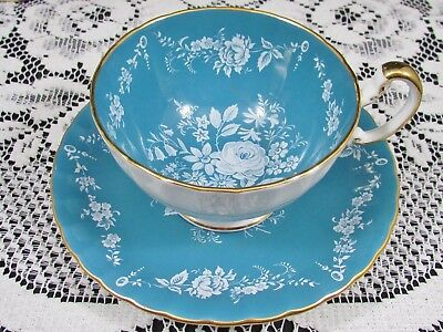 Aynsley White Enamel Rose Floral Turquoise Oban Tea Cup And Saucer