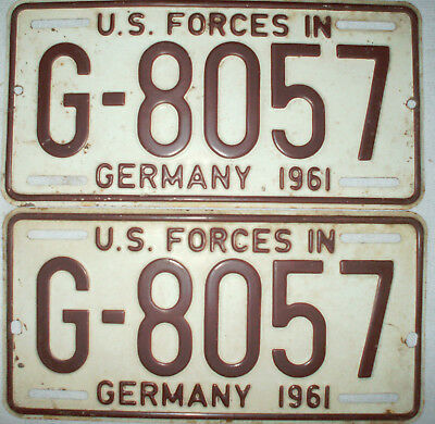 Matched Set Vintage 1961 US Forces in Germany Plate G-8057