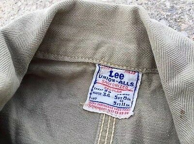 Vtg. 50s LEE Union-Alls Military HBT Herringbone Sanforized Coveralls Jumpsuit.