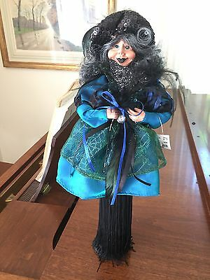 "Halloween Witch 18"" Tall,Teal, Green & Black on Pedestal/Collectable"