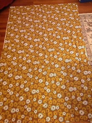 Vintage Mid Century 1970s Floral Flower Power Tablecloth Brown Gold White 56x84