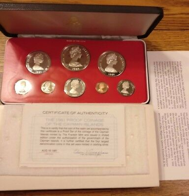 1981 Cayman Islands 8-Coin Silver Proof Set with OGP / COA