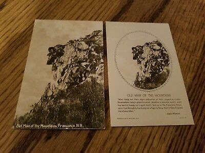 Vintage Old Man of the Mountain New Hampshire Unused RPPC Lot of 2
