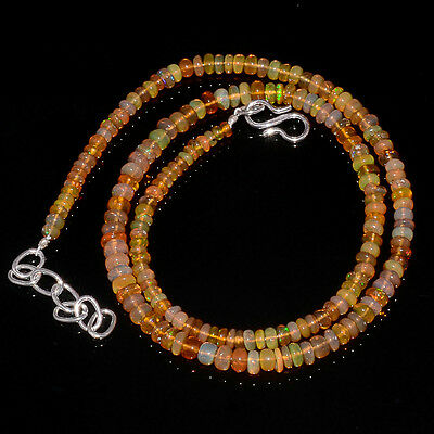 """46CRTS 3to4.5MM 18"""" ETHIOPIAN OPAL RONDELLE BEAUTIFUL BEADS NECKLACE OBI2682"""