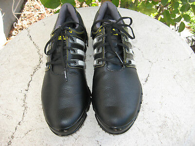 Adidas Tour 360 Men's Golf Shoes Cleats Size 10.5 Black Leather Traxion Fit Foam
