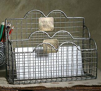 Letters In Mail Caddy  Aged Nickel Files Letter Desk Organizer