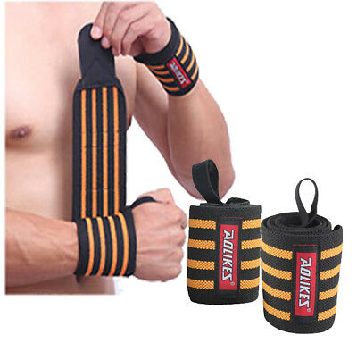 Pair Weight Lifting Wrist Wraps Support Gym Crossfit Sports Straps Brace 24""