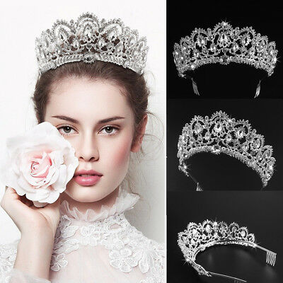Tiara Crown Bridal Headwear Rhinestone Headpiece Bling Crystal Wedding Decor USA