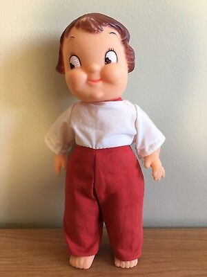 """Campbell's Soup Kid Toy- Boy, 10"""" Rubber Doll With Clothes"""