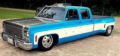 1973 Chevrolet C-10 C/K 3500 HD 454 CREW DUALLY TRUCK BAGGED C30 C-10 3500 CREW DUALLY BUILT 454 ROLLER MOTOR TRUCK 3+3 BAGGED NEW 19.5 ALCOAS PATINA