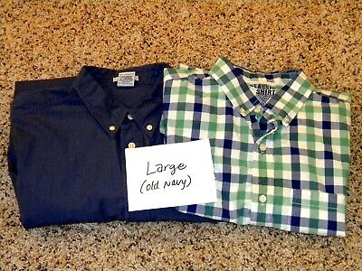 LOT of 2 Mens Old Navy Long Sleeved Dress Shirts - Size L