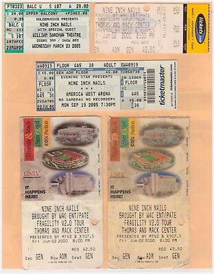 Nine Inch Nails concert ticket stubs- 1991 - 2005- Trent Reznor - FOO FIGHTERS