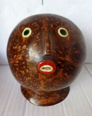 Polished Coconut shell artwork Tribal / Native  head with Inlaid Face