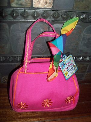 WEBKINZ~NEW~FUNKY FLOWER P Pink~Plush Pet CARRIER purse~SEALED Code Tag~bag