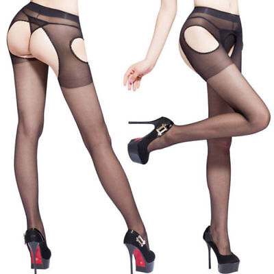 Naughty Sheer & Silky Crotchless Garter style Pantyhose (019)