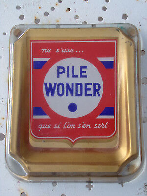 Rare Cendrier Vintage Pile Wonder en Verre des Années 80 Ashtray the Eighties