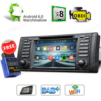"7"" Android 6.0 Octa Core Car Stereo Radio DVD GPS Wifi for BMW E39 M5 W + OBD2"