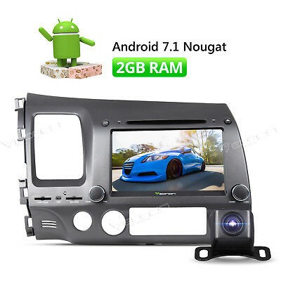 "Android 7.1 Car DVD GPS Player 8"" Touch Screen for Honda Civic + Backup Camera W"