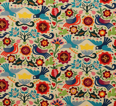 LA PALOMA – Folklorico – ALEXANDER HENRY – COLOURED BIRDS / FLOWERS  Quilting FQ
