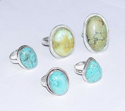 Wholesale Lot !! 5 Pcs Natural Turquoise Gemstone 925 Silver Plated Ring