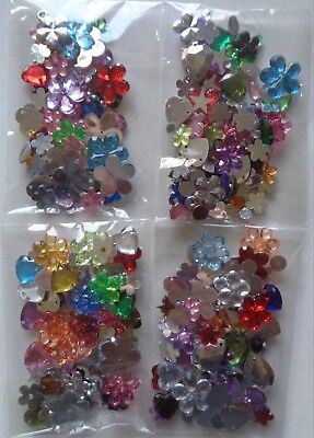 1 x Bag Of Mixed Acrylic Rhinestone Gems Flat Back Sew On Pendant Beads + More