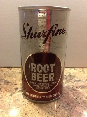 Vintage 1965 Shurfine Root Beer Soda Straight Steel Pull Tab soda can