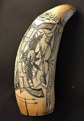 Vintage Scrimshaw Replica Whale Tooth for Vicksburg, Ms.