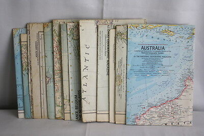 Lot of 13 VTG 1950's & 1960's  National Geographic Magazine Maps
